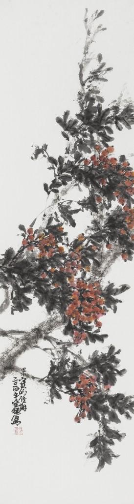 阮晓晖   红果  纸本水墨  180cmx48cm  2014